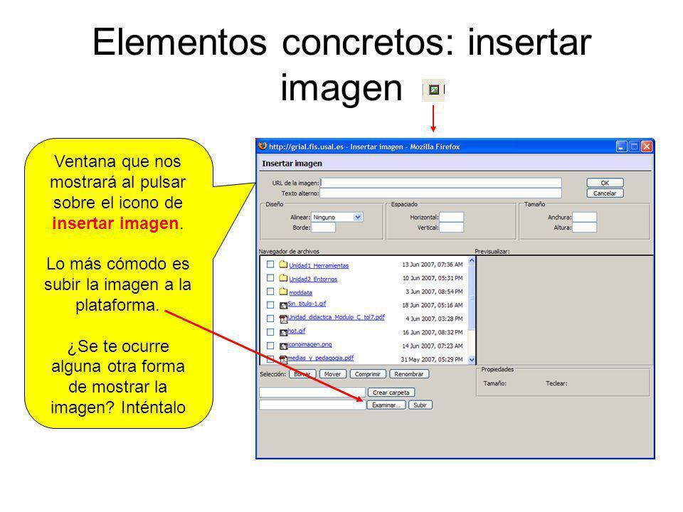 Elementos concretos: subir imagen El proceso para subir una imagen es sencillo, una vez desplegada esta ventana, pulsamos en examinar y buscamos en nuestro PC la imagen.