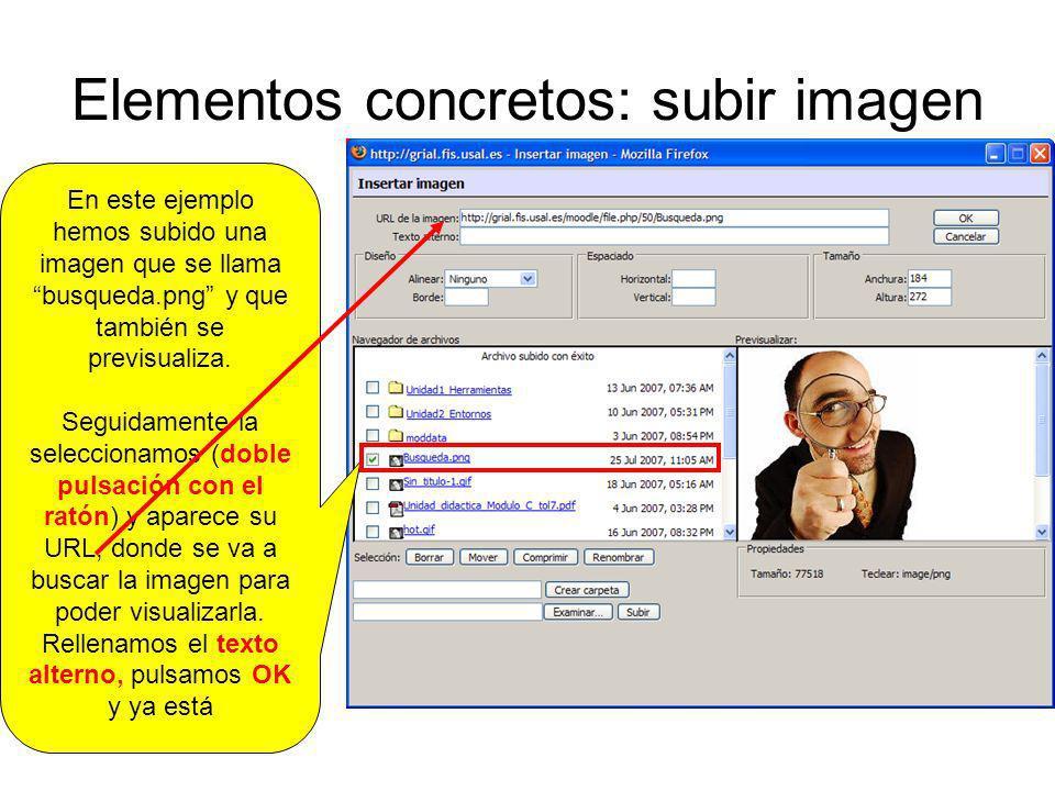 Elementos concretos: subir imagen En este ejemplo hemos subido una imagen que se llama busqueda.png y que también se previsualiza. Seguidamente la sel