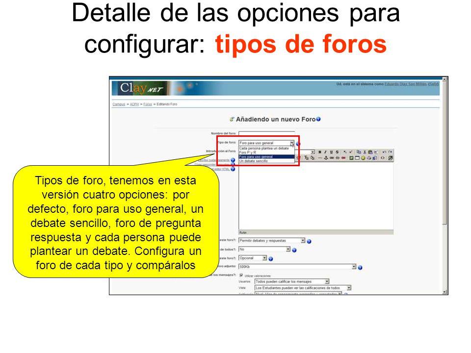 Detalle de las opciones para configurar: descripción/introducción al foro Editor html, nos permite añadir una descripción sobre el foro, que será la primera información que reciban los alumnos del profesor sobre la función y uso del foro en cuestión.