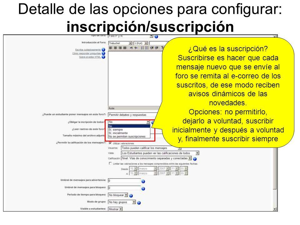 Detalle de las opciones para configurar: correo de inscripción Imagen de un correo recibido por suscripción a un foro de Moodle.