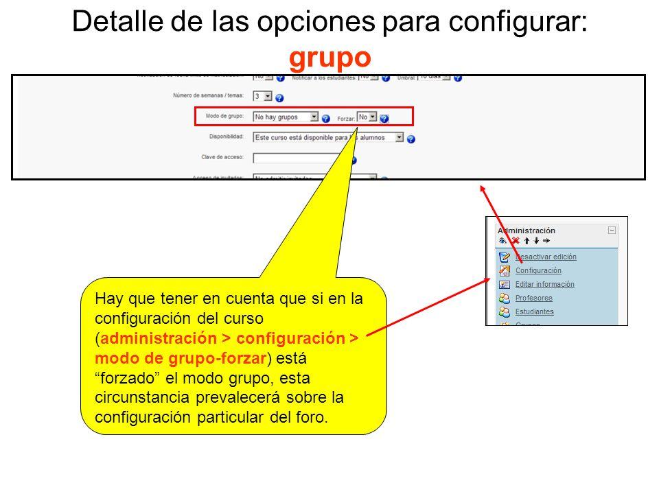 Detalle de las opciones para configurar: guardar cambios No olvides, para finalizar, pulsar el botón guardar cambios para que las configuraciones escogidas se establezcan
