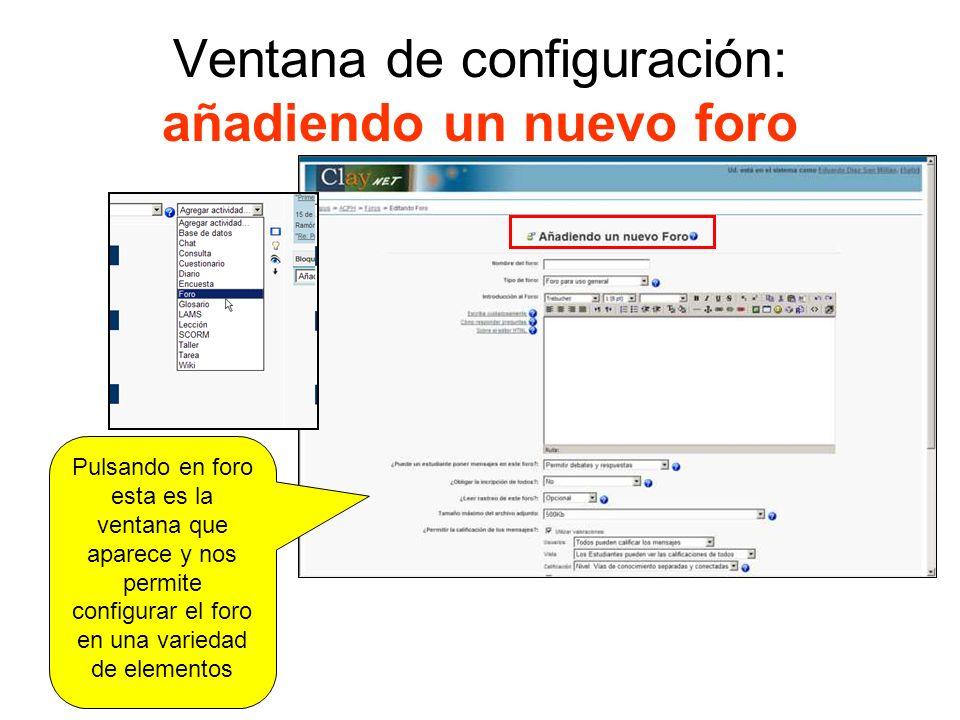 Detalle de las opciones para configurar: ayuda contextual Siempre que pulsamos el botón con el signo de interrogación se muestra una ventana contextual con información muy detallada.