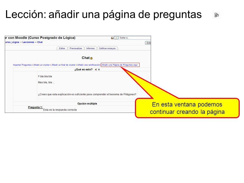 Lección: añadir una página de preguntas En esta ventana podemos continuar creando la página