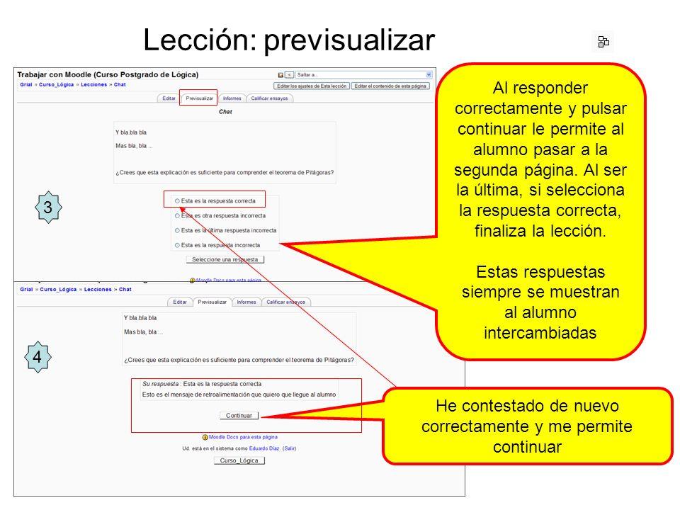 Lección: previsualizar Al responder correctamente y pulsar continuar le permite al alumno pasar a la segunda página.