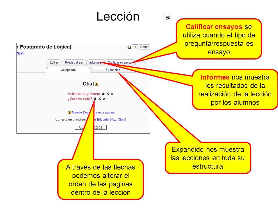 Lección A través de las flechas podemos alterar el orden de las páginas dentro de la lección Calificar ensayos se utiliza cuando el tipo de pregunta/respuesta es ensayo Informes nos muestra los resultados de la realización de la lección por los alumnos Expandido nos muestra las lecciones en toda su estructura