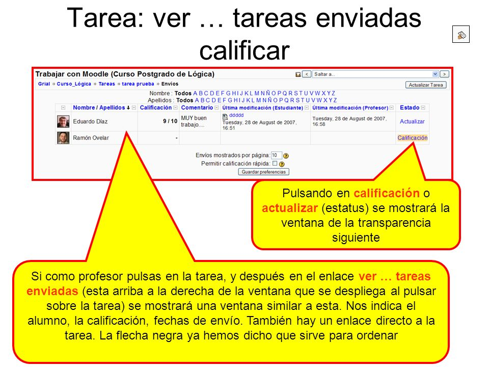 Tarea: ver … tareas enviadas calificar Si como profesor pulsas en la tarea, y después en el enlace ver … tareas enviadas (esta arriba a la derecha de