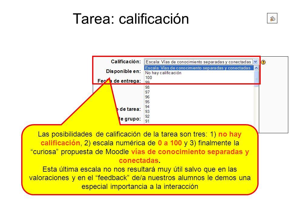 Tarea: calificación Las posibilidades de calificación de la tarea son tres: 1) no hay calificación, 2) escala numérica de 0 a 100 y 3) finalmente la c