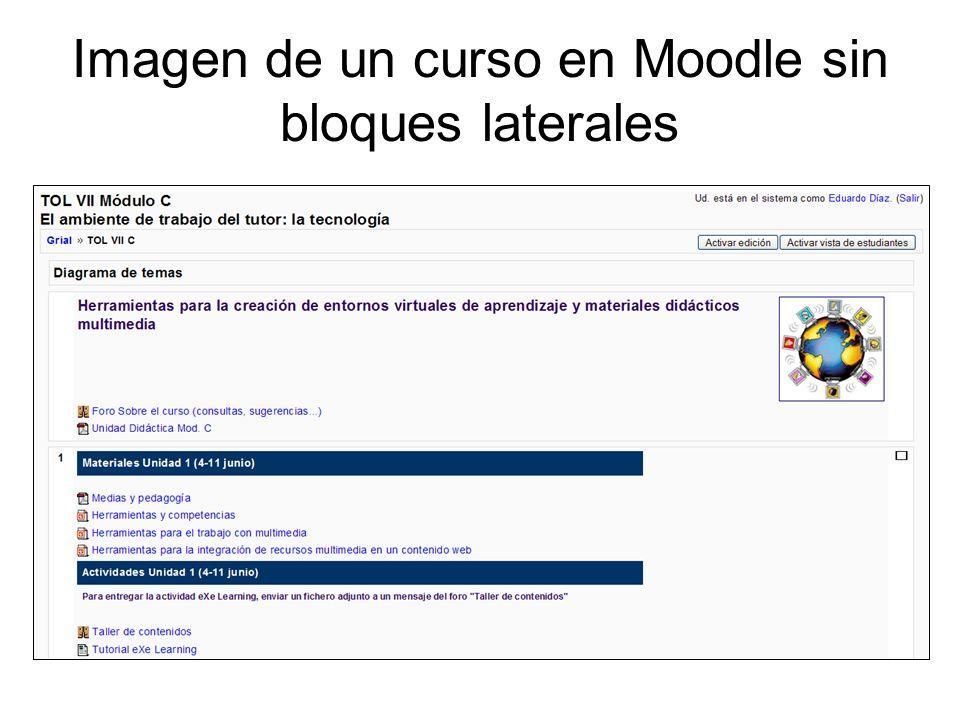 Imagen de un curso en Moodle sin bloques laterales