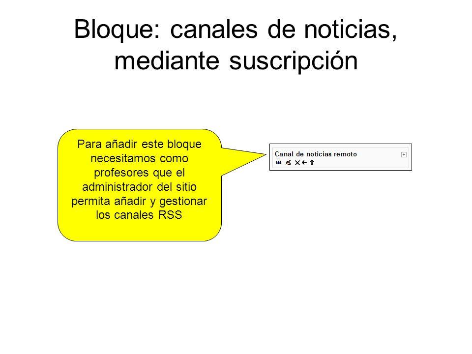 Bloque: canales de noticias, mediante suscripción Para añadir este bloque necesitamos como profesores que el administrador del sitio permita añadir y gestionar los canales RSS