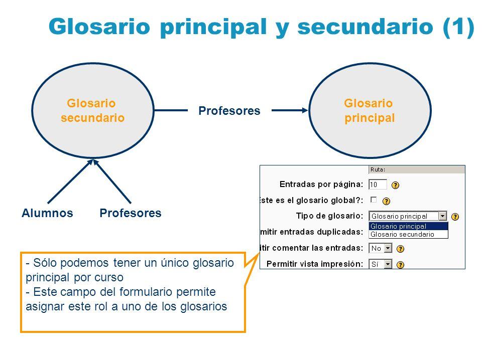 Glosario principal y secundario (1) Glosario secundario Glosario principal AlumnosProfesores - Sólo podemos tener un único glosario principal por curs