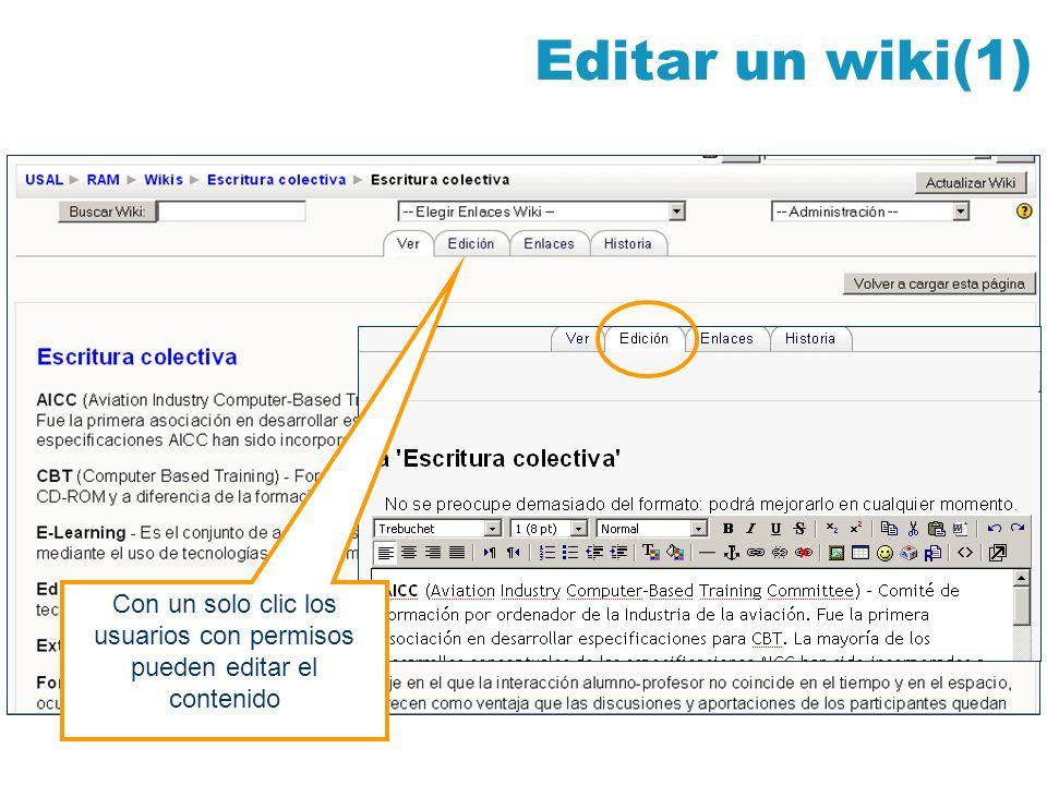 Editar un wiki(1) Con un solo clic los usuarios con permisos pueden editar el contenido