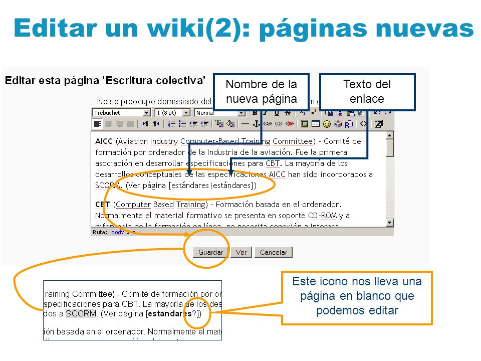 Editar un wiki(2): páginas nuevas Nombre de la nueva página Texto del enlace Este icono nos lleva una página en blanco que podemos editar