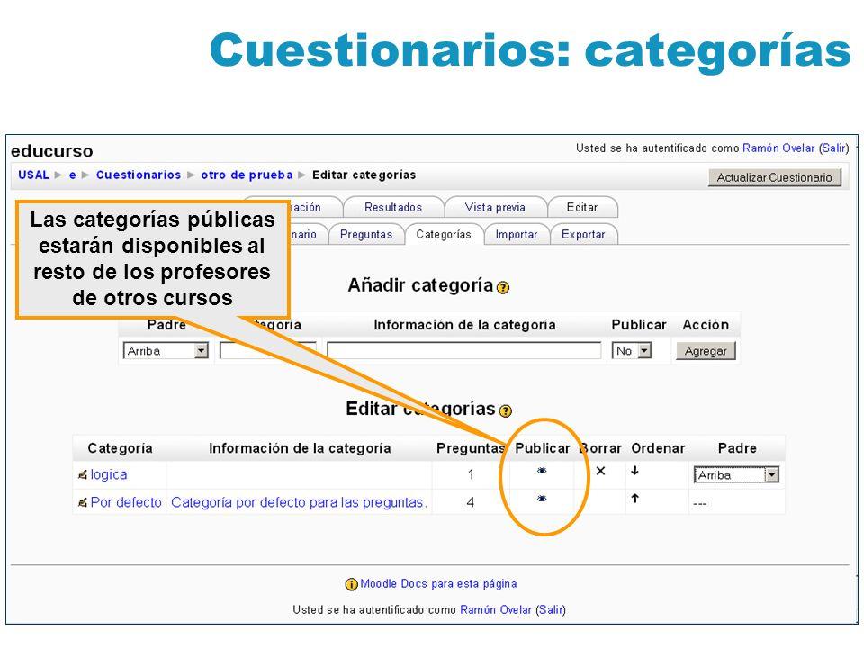 Cuestionarios: categorías Las categorías públicas estarán disponibles al resto de los profesores de otros cursos