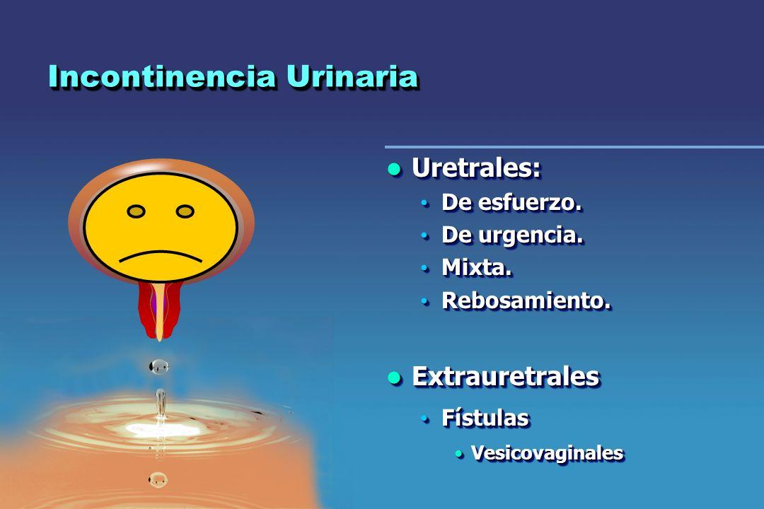 Incontinencia Urinaria Uretrales: Uretrales: De esfuerzo. De esfuerzo. De urgencia. De urgencia. Mixta. Mixta. Rebosamiento. Rebosamiento. Extrauretra