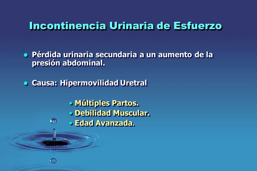 Incontinencia Urinaria de Esfuerzo Pérdida urinaria secundaria a un aumento de la presión abdominal Pérdida urinaria secundaria a un aumento de la pre