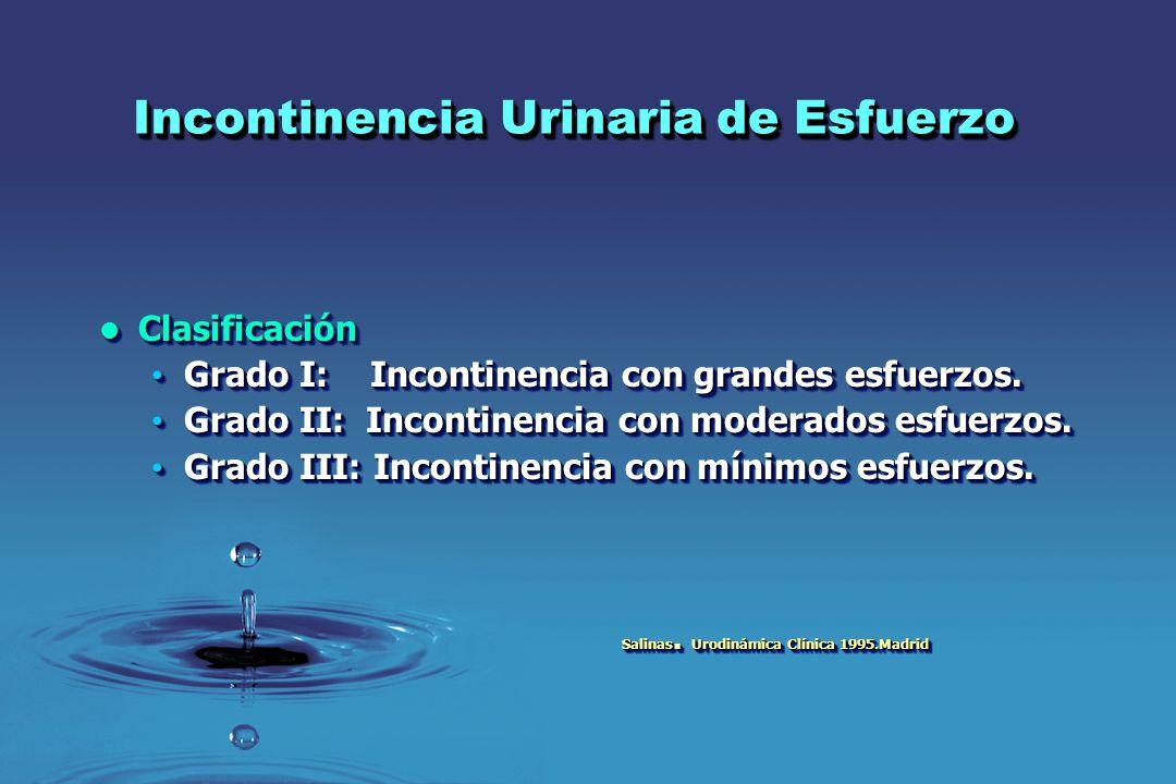 Incontinencia Urinaria de Esfuerzo Clasificación Clasificación Grado I: Incontinencia con grandes esfuerzos. Grado I: Incontinencia con grandes esfuer