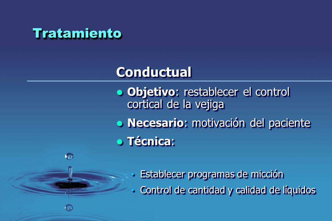 TratamientoTratamiento Conductual Objetivo: restablecer el control cortical de la vejiga Objetivo: restablecer el control cortical de la vejiga Necesa