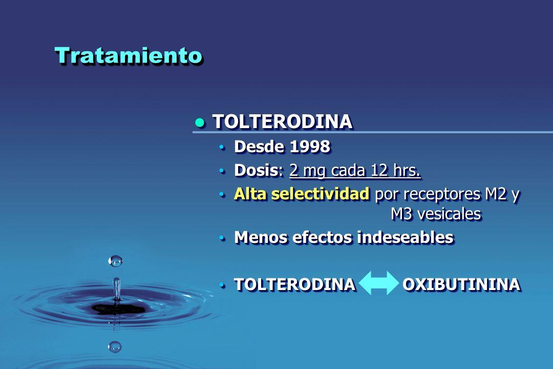 TratamientoTratamiento TOLTERODINA TOLTERODINA Desde 1998 Desde 1998 Dosis: 2 mg cada 12 hrs. Dosis: 2 mg cada 12 hrs. Alta selectividad por receptore