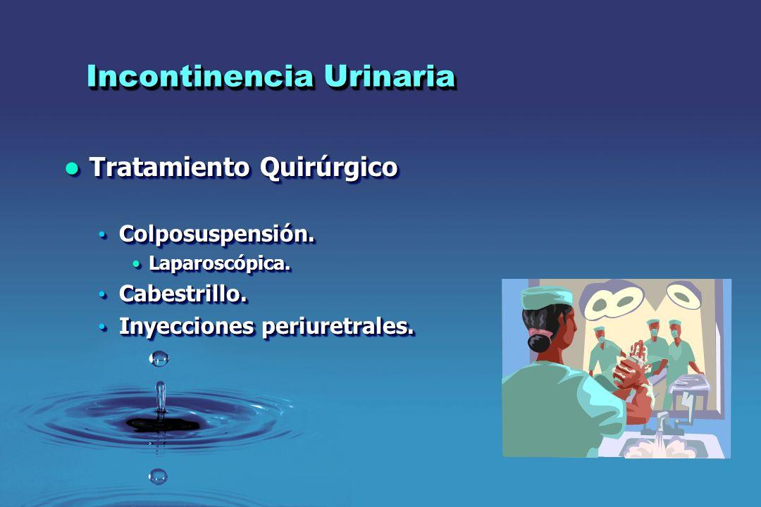 Incontinencia Urinaria Tratamiento Quirúrgico Tratamiento Quirúrgico Colposuspensión. Colposuspensión. Laparoscópica.Laparoscópica. Cabestrillo. Cabes