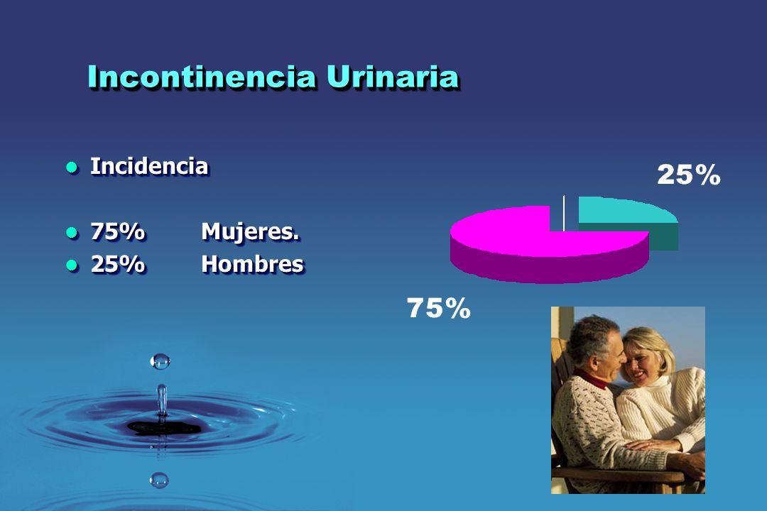 Incontinencia Urinaria Incidencia en el sexo femenino Incidencia en el sexo femenino Mujeres de 35 años15% Mujeres de 35 años15% Mujeres de 55 años28% Mujeres de 55 años28% < 50% de la mujeres con IU acuden a consulta.