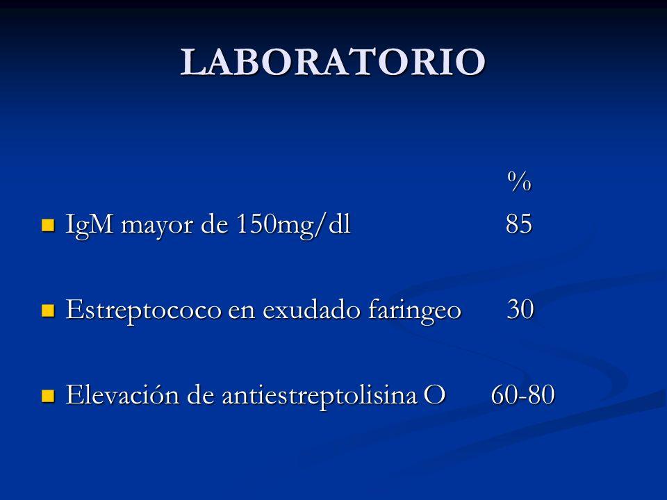 LABORATORIO % IgM mayor de 150mg/dl 85 IgM mayor de 150mg/dl 85 Estreptococo en exudado faringeo 30 Estreptococo en exudado faringeo 30 Elevación de a