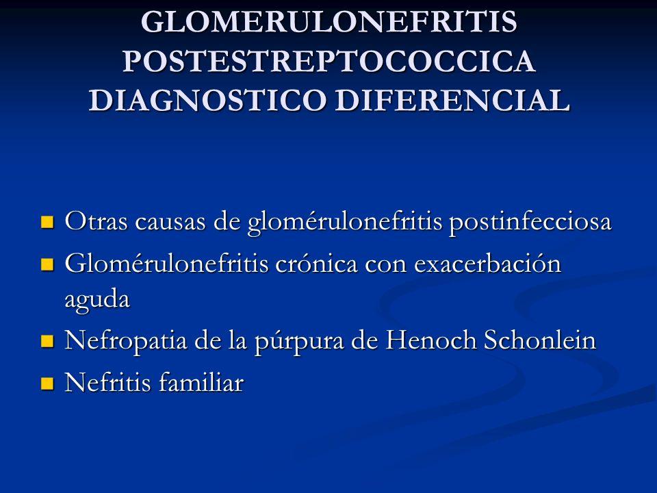 GLOMERULONEFRITIS POSTESTREPTOCOCCICA DIAGNOSTICO DIFERENCIAL Otras causas de glomérulonefritis postinfecciosa Otras causas de glomérulonefritis posti