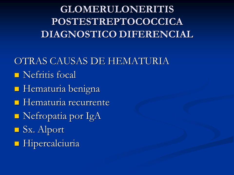 GLOMERULONERITIS POSTESTREPTOCOCCICA DIAGNOSTICO DIFERENCIAL OTRAS CAUSAS DE HEMATURIA Nefritis focal Nefritis focal Hematuria benigna Hematuria benig