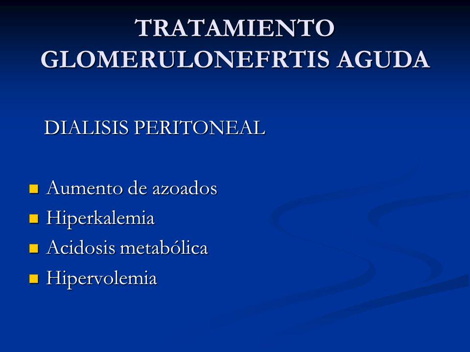 TRATAMIENTO GLOMERULONEFRTIS AGUDA DIALISIS PERITONEAL DIALISIS PERITONEAL Aumento de azoados Aumento de azoados Hiperkalemia Hiperkalemia Acidosis me