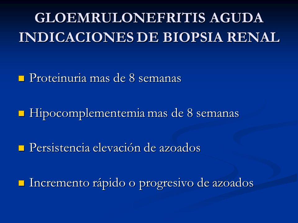 GLOEMRULONEFRITIS AGUDA INDICACIONES DE BIOPSIA RENAL Proteinuria mas de 8 semanas Proteinuria mas de 8 semanas Hipocomplementemia mas de 8 semanas Hi