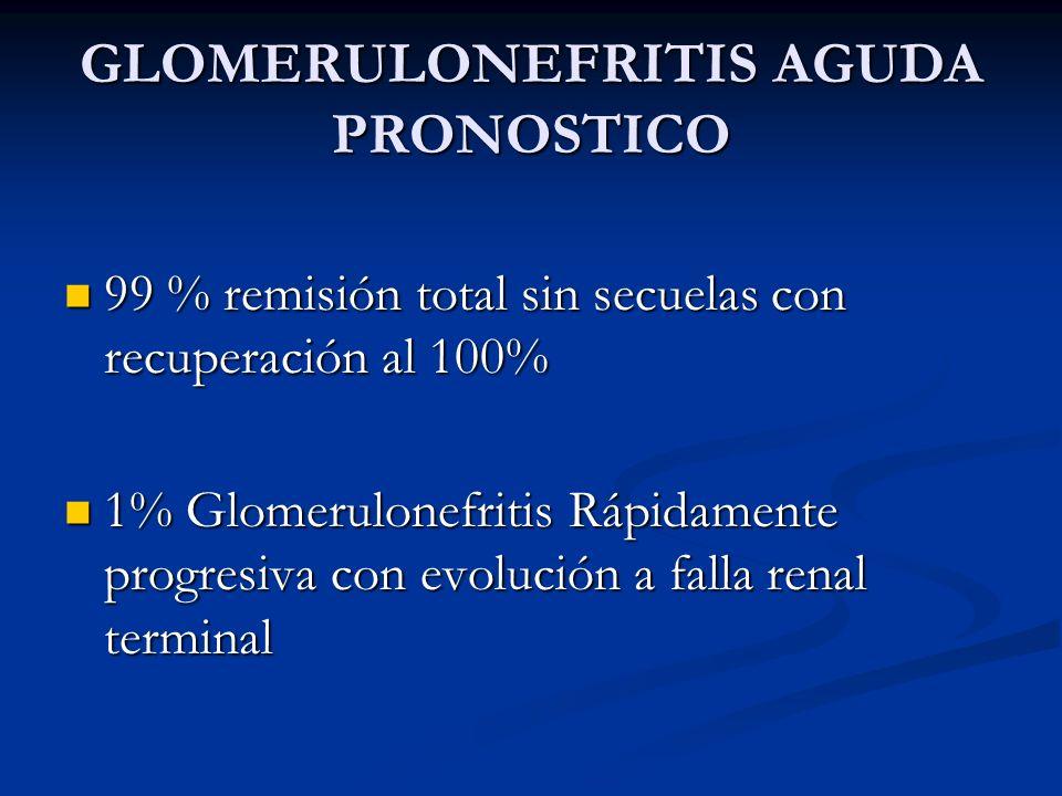 GLOMERULONEFRITIS AGUDA PRONOSTICO 99 % remisión total sin secuelas con recuperación al 100% 99 % remisión total sin secuelas con recuperación al 100%