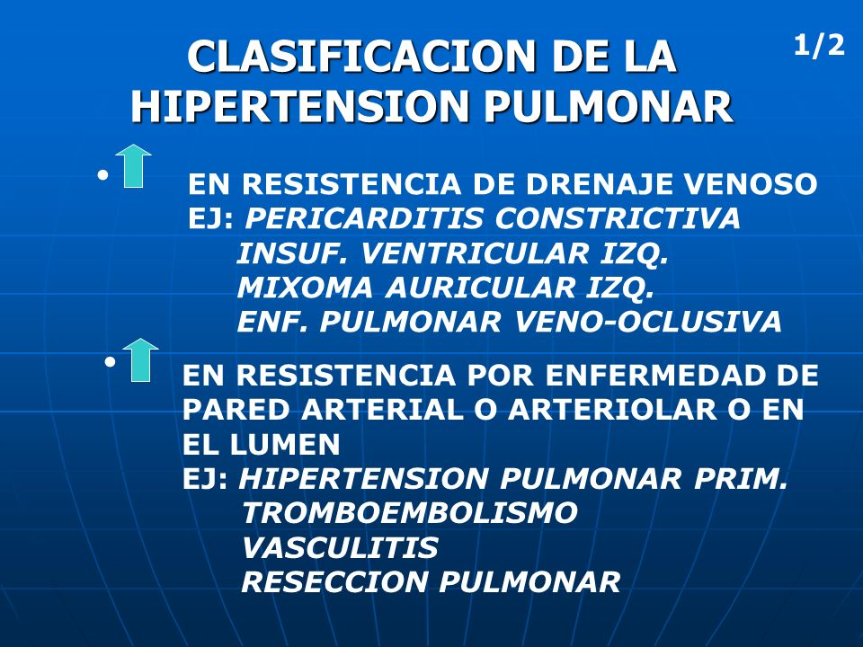 CLASIFICACION DE LA HIPERTENSION PULMONAR EN RESISTENCIA DE DRENAJE VENOSO EJ: PERICARDITIS CONSTRICTIVA INSUF. VENTRICULAR IZQ. MIXOMA AURICULAR IZQ.