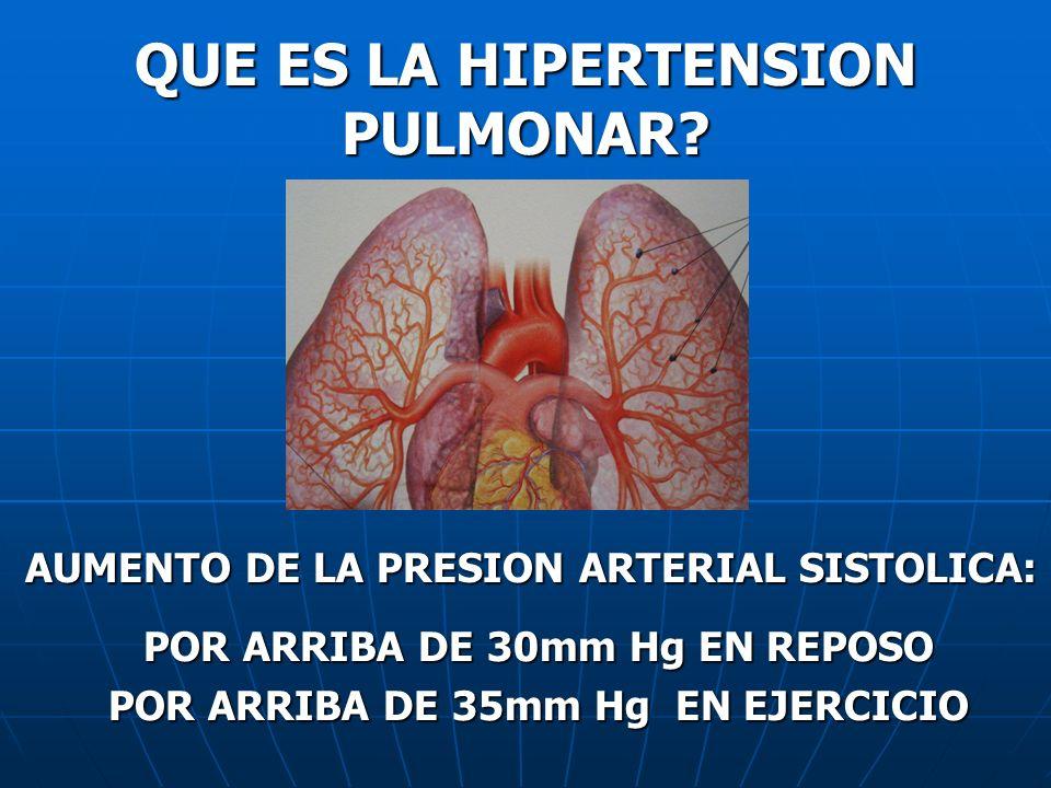 QUE ES LA HIPERTENSION PULMONAR? AUMENTO DE LA PRESION ARTERIAL SISTOLICA: AUMENTO DE LA PRESION ARTERIAL SISTOLICA: POR ARRIBA DE 30mm Hg EN REPOSO P