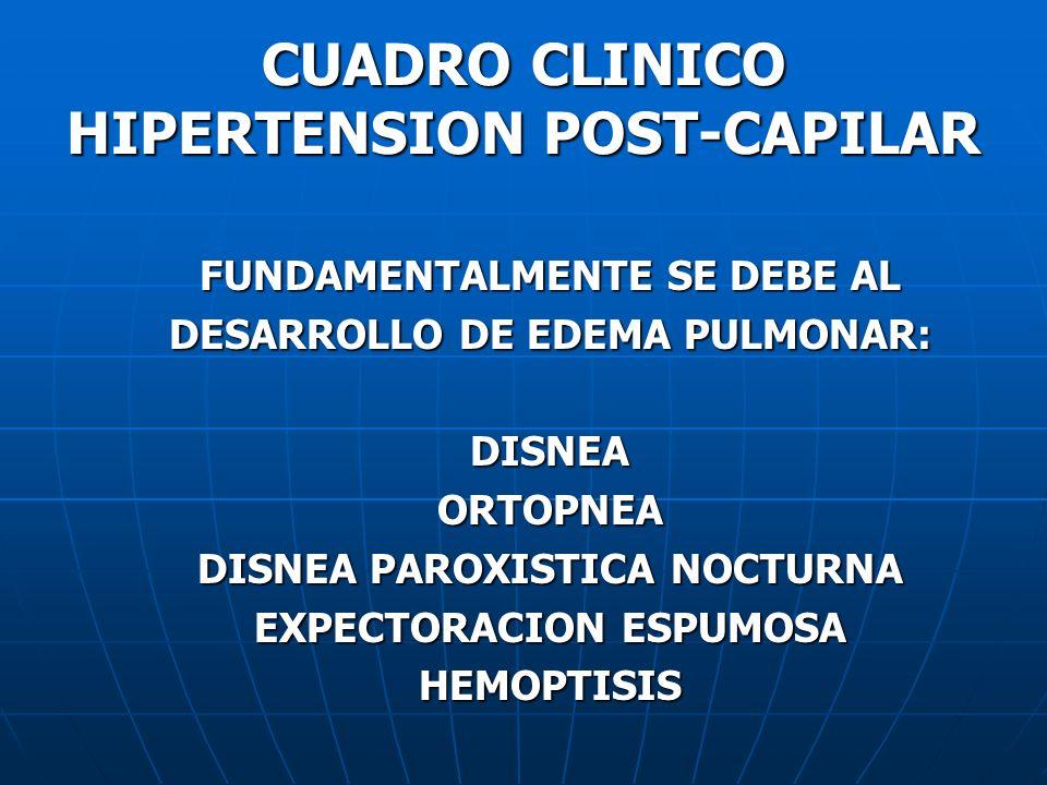 CUADRO CLINICO HIPERTENSION POST-CAPILAR FUNDAMENTALMENTE SE DEBE AL DESARROLLO DE EDEMA PULMONAR: DISNEAORTOPNEA DISNEA PAROXISTICA NOCTURNA EXPECTOR