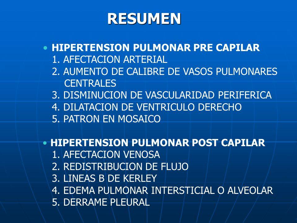 RESUMEN HIPERTENSION PULMONAR PRE CAPILAR 1. AFECTACION ARTERIAL 2. AUMENTO DE CALIBRE DE VASOS PULMONARES CENTRALES 3. DISMINUCION DE VASCULARIDAD PE