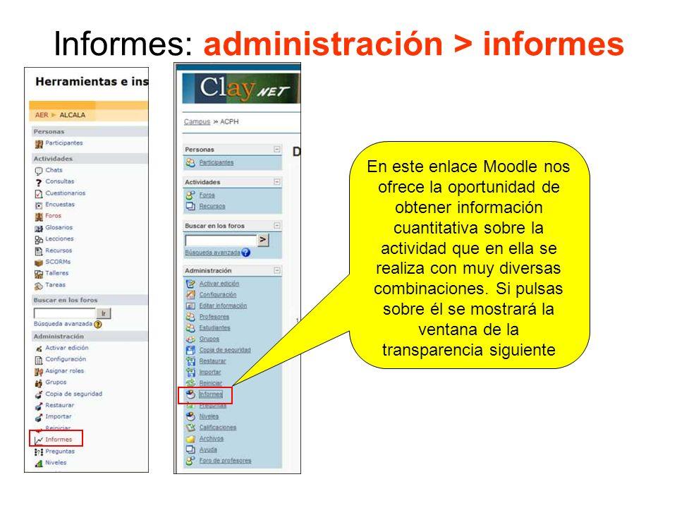 Informes: administración > informes En definitiva son diferentes formas de obtener una información similar Nos permite combinar el sitio, los participantes, los días, las actividades planteadas y las acciones ejecutadas.