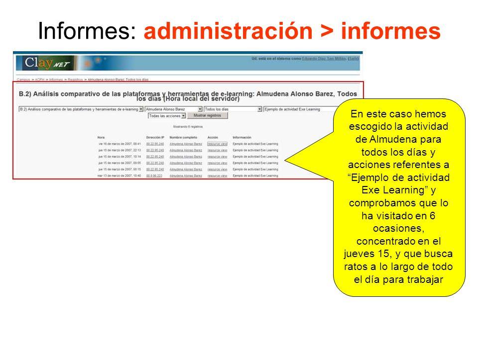 Informes: administración > informes Es el mismo ejemplo de la transparencia anterior pero los datos no se refieren a un alumno sino a todos los participantes.