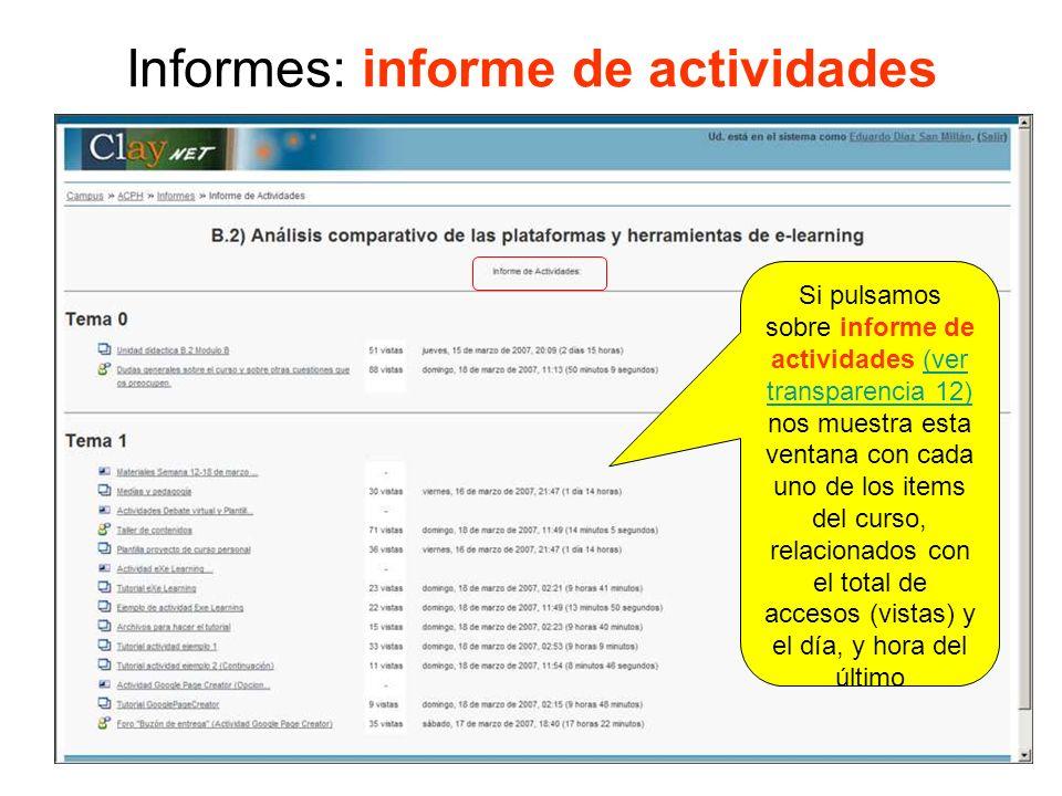 Informes: informe de participación Nos permite escoger cualquiera de las actividades/recursos planteadas en este módulo, foro, glosario, etc.