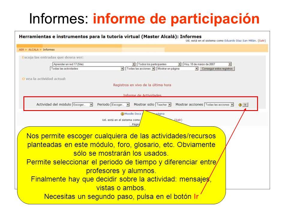 Informes: informe de participación Seleccionas sobre que quieres el informe y pulsas en el botón Ir