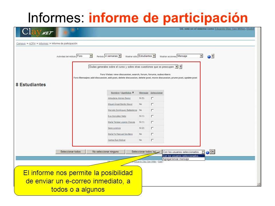 Informes: informe de participación El informe nos permite la posibilidad de enviar un e-correo inmediato, a todos o a algunos