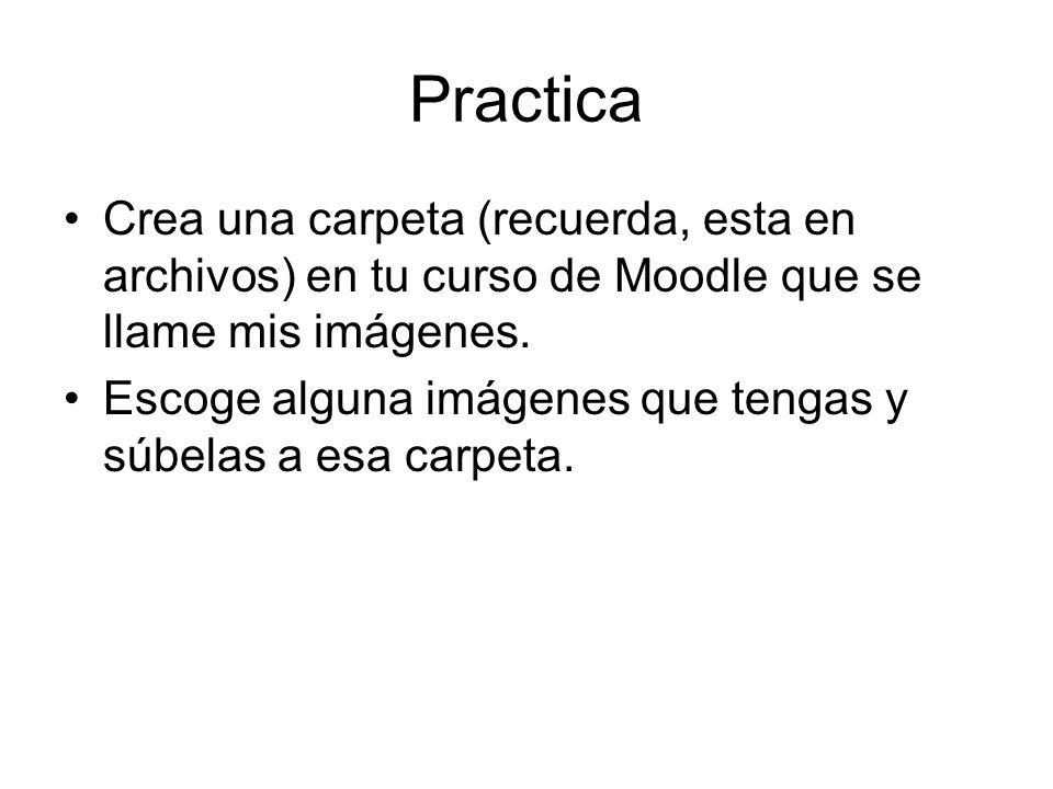 Practica Crea una carpeta (recuerda, esta en archivos) en tu curso de Moodle que se llame mis imágenes. Escoge alguna imágenes que tengas y súbelas a