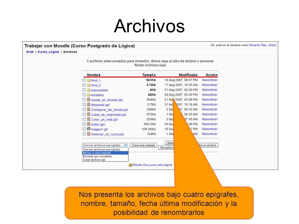 Archivos Nos presenta los archivos bajo cuatro epígrafes, nombre, tamaño, fecha última modificación y la posibilidad de renombrarlos