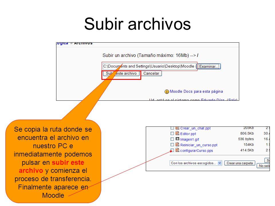 Subir archivos Se copia la ruta donde se encuentra el archivo en nuestro PC e inmediatamente podemos pulsar en subir este archivo y comienza el proces