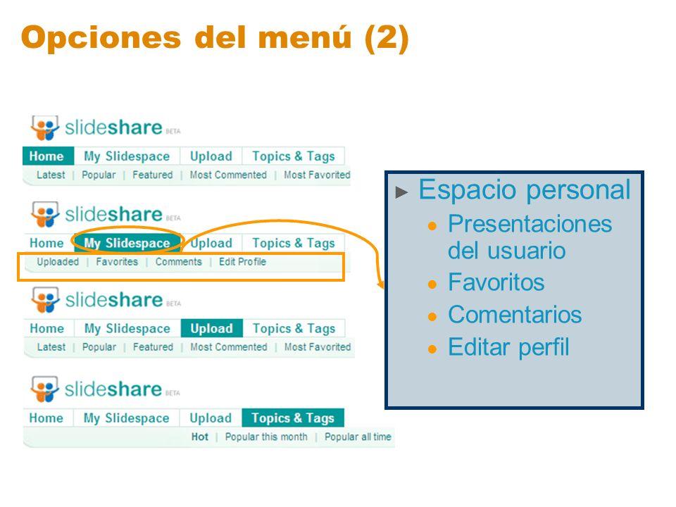 Opciones del menú (2) Espacio personal Presentaciones del usuario Favoritos Comentarios Editar perfil