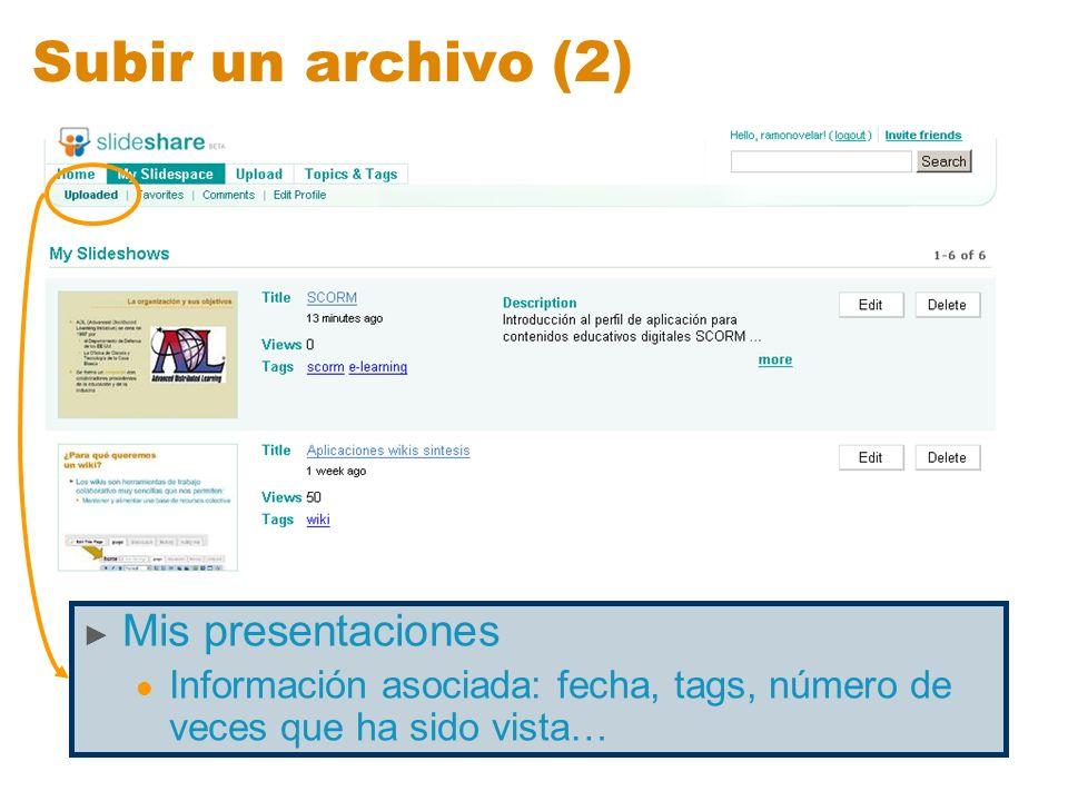 Subir un archivo (2) Mis presentaciones Información asociada: fecha, tags, número de veces que ha sido vista…