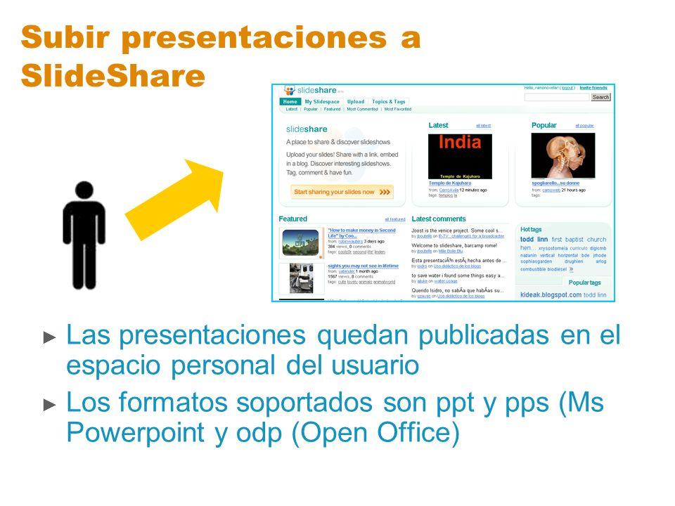 Subir presentaciones a SlideShare Las presentaciones quedan publicadas en el espacio personal del usuario Los formatos soportados son ppt y pps (Ms Po