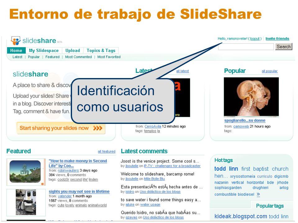 Entorno de trabajo de SlideShare Espacio personal del usuario Subir presentaciones