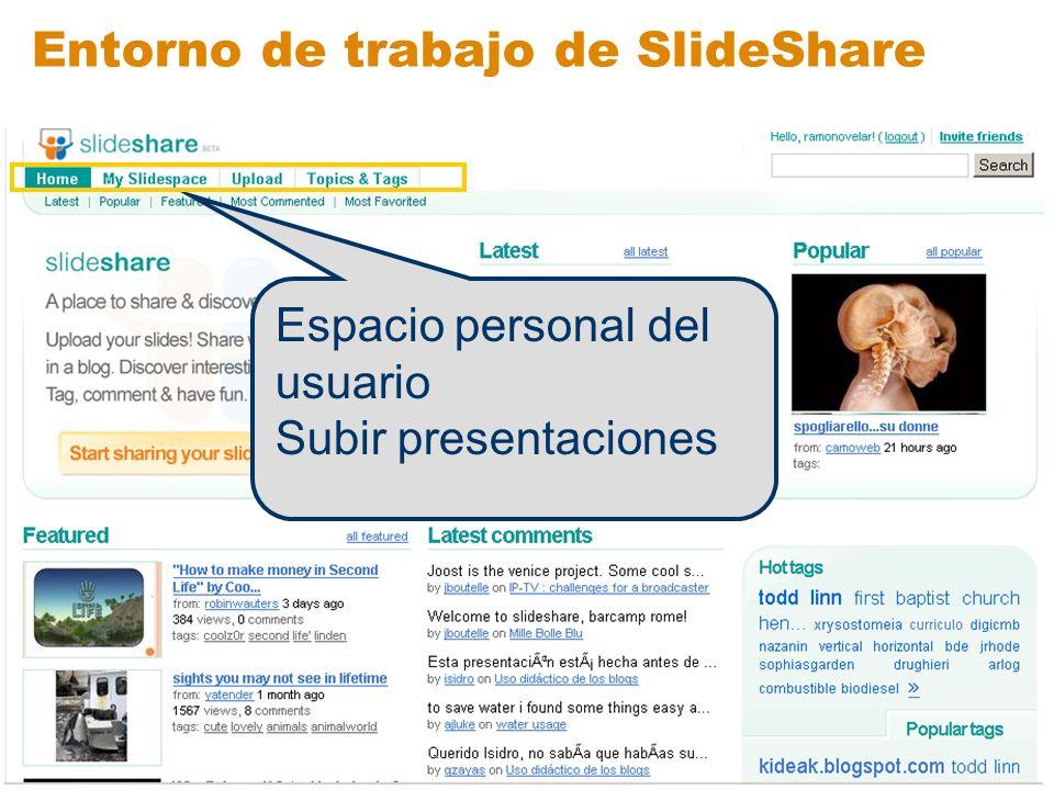 Entorno de trabajo de SlideShare Ultimas aportaciones Más populares Seleccionadas Más comentadas Más valoradas