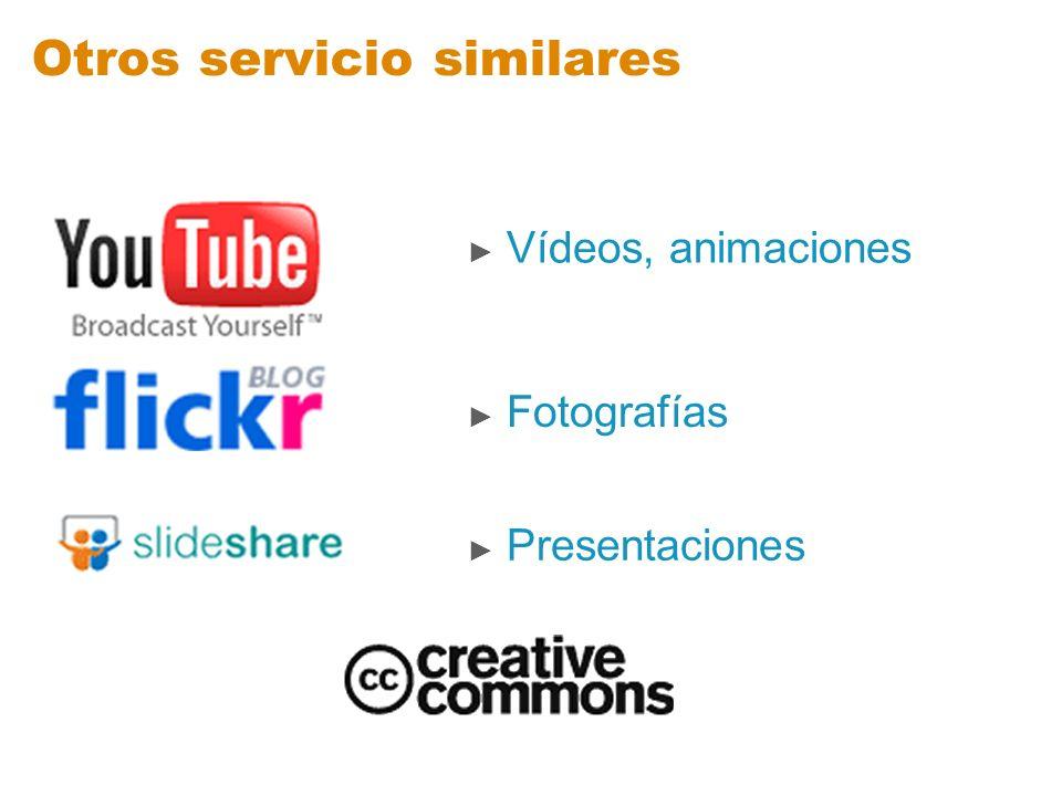 Otros servicio similares Vídeos, animaciones Fotografías Presentaciones