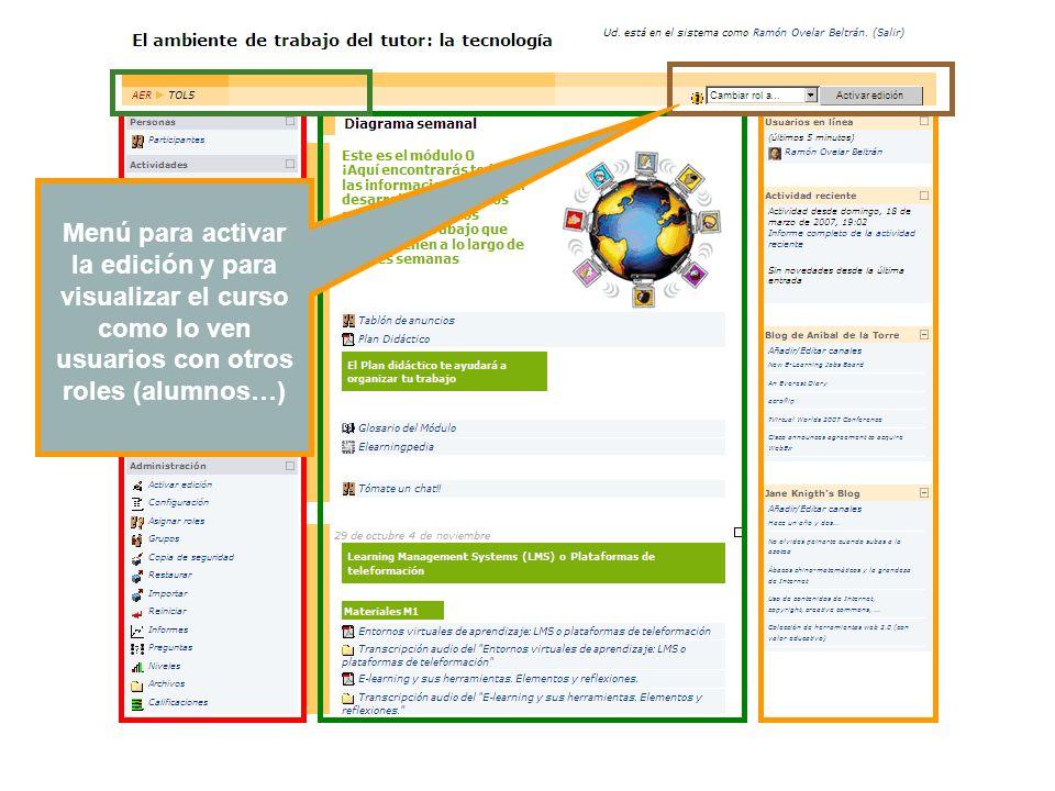 Menú para activar la edición y para visualizar el curso como lo ven usuarios con otros roles (alumnos…)