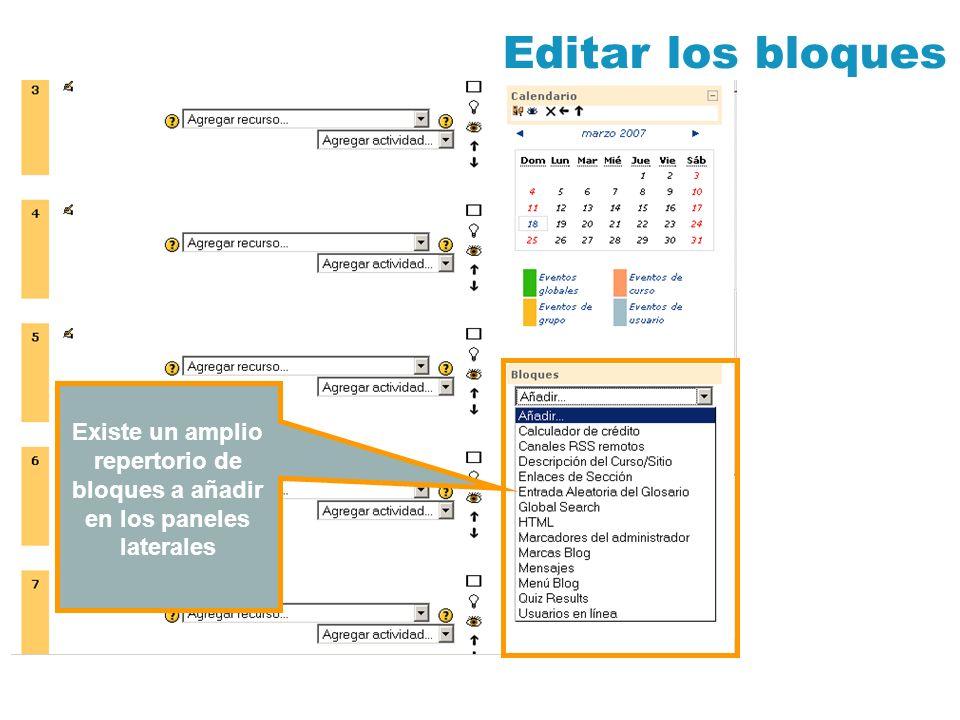 Editar los bloques Existe un amplio repertorio de bloques a añadir en los paneles laterales